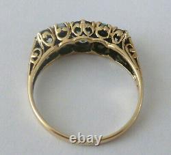Green Amethyst & Opal Vintage Ring, 9ct 9k Solid Gold, Victorian Ring R75 Custom
