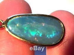 Green Blue AUSTRALIAN Opal Solid 14k Gold Pendant Bright Lightening bolt Ladies