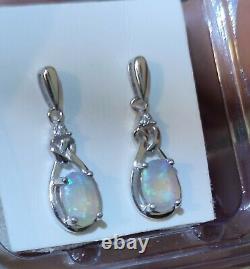 Green/Blue Australian Solid Crystal Opal Sterling Silver Earrings