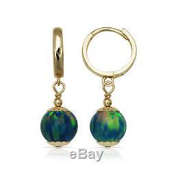 Green Fire Opal Ball Huggie Hoop Dangle Earrings 14K Solid Yellow Gold 8mm