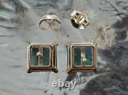 Green Opal Princess Cut Stud Earrings 14kt Solid Yellow Gold