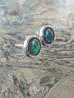 Green Opal Stud Earrings 14kt Solid White Gold