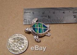Green Sea Turtle Opal Pendant solid Sterling Silver