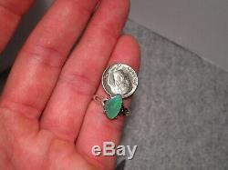 Green Solid Australian Black Opal Ring Sterling Silver SIZE 8 1/4