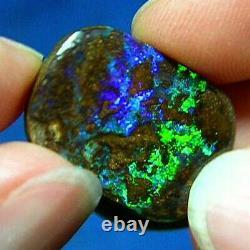 Green Violet Turquoise 20ct Natural Australian Solid Matrix Boulder Opal
