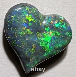 HEART CUT! 7.5ct Solid Black Opal GREEN & ORANGE Carving from Lightning Ridge