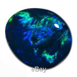 HUGE 11.43ct TOP GEM QUALITY BLUE-GREEN 17x15mm SOLID BLACK OPAL LIGHTNING RIDGE