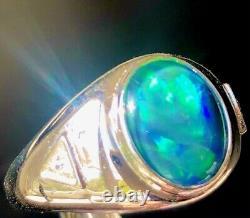 Handsome Solid W Australian Black Opal men's ring Aurora Borealis Blue Green 11