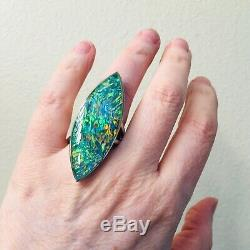 Huge MUSEUM Quality Black Opal Prototype Sterling Heavy solid Ring 6 Ladies 20C