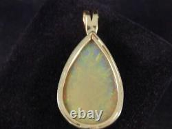 Huge Opal Pendant 14K Solid Yellow Gold 42.5 x 21.5mm