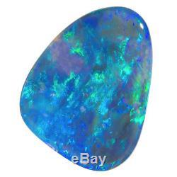 IMPRESIVE 5.24ct 20x15mm AQUA-BLUE-GREEN SOLID SEMI BLACK OPAL LIGHTNING RIDGE