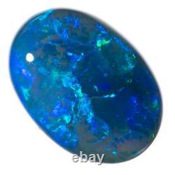 IMPRESSIVE 3.94ct SAPPHIRE BLUE GREEN 13x9mm SOLID BLACK OPAL LIGHTNING RIDGE