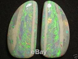 Incredible Large Doublesided Solid Opal Pair 102 Carats Flashfire-opals