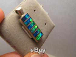 Inlay Opal Pendant solid 14 k white gold Neon Green and Blue