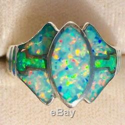 LOVE! Ladies Ring 8 Elven David Freeland Blue Brazillian Green Solid Opal $300