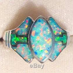 LOVE! Ladies Ring 8 Elven David Freeland Blue Brazillian Green Solid Opal $300