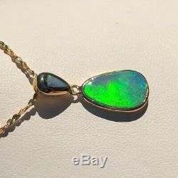 Large 100% Natural Australian Irish GREEN Opal Doublet 14k solid gold necklace