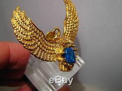Large Australian Black Opal Eagle Pendant 23 grams solid 22k Yellow Gold