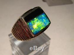 Large Mens Gem Australian Opal & Obsidian Ring Solid 22 grams14 k Gold