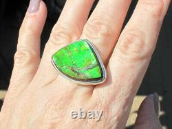 Large Solid Green & Red Opal Flash Genuine Ammolite Ring, Sterling Silver, sz 8