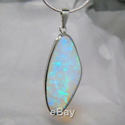Large Solid Natural Australian Crystal Opal Gem Pendant Sterling Silver 14ct A31