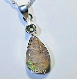Louisiana Opal Pendant & Chain Solid Sterling Silver Hand Made Green Amethyst