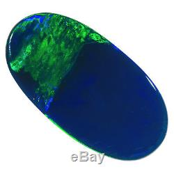 MAGNIFICENT EMERALD GREEN-BLUE 18x9mm 3.49ct SOLID BLACK OPAL LIGHTNING RIDGE