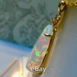 MASSIVE Solid Australian Opal 40 Carats 14k gold Diamond Pendant REDS HUGE