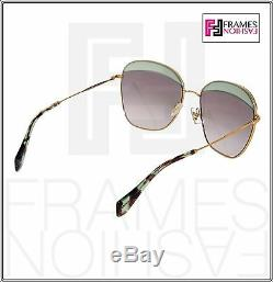 MIU MIU NOIR 53Q Square Gold Opal Green Gradient Sunglasses MU53QS