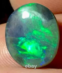 Make Offer Bright Green & Aqua 5.3 Carat Solid Lightning Ridge Black Opal