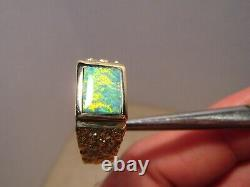 Men' s Opal Ring Solid 14 k Gold Nugget style