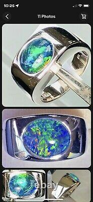 Mens Green And Blue Solid Black Opal 10+ Grams Size 8 Sterling Silver Ring