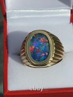 Mens LARGE Solid Black Opal Ring 18k Reds Blue Green Yellow Orange N2 B1