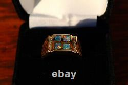 Mens Opal Ring 14k Gold Black Australian Inlay With Diamond Accent