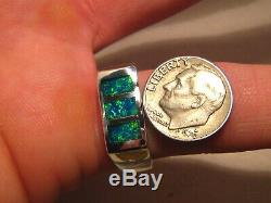 Mens Opal Ring Solid Australian Gem Opal Ring. 925 Silver SIZE 11 1/4