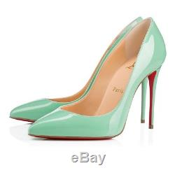 NB Christian Louboutin Pigalle Follies 100 Opal Green Blue Patent Heel Pump 38.5