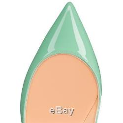 NB Christian Louboutin Pigalle Follies 100 Opal Green Blue Patent Heel Pump 39.5