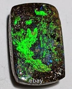 NEON GREEN! 4.3ct Solid Boulder Opal Blue Green Rectangle Cushion Queensland