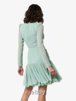 NEW GIAMBATTISTA VALLI Mint Green Long Sleeve Ruched Ruffle Silk Dress 46 10
