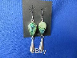 NEW! STUNNING! Green Blue Fire Opal Earrings Set in Solid Sterling Navajo Inlaid