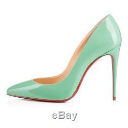 NIB Christian Louboutin Pigalle Follies 100 Opal Green Blue Patent Heel Pump 37