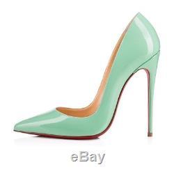 NIB Christian Louboutin So Kate 120 Opal Green Blue Patent Heel Pump Shoe 36.5
