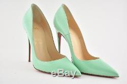 NIB Christian Louboutin So Kate 120 Opal Green Blue Patent Heel Pump Shoe 37.5