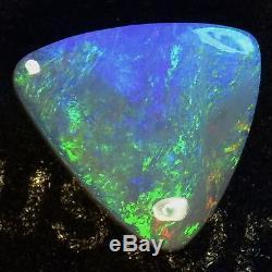 NICE GREENS & BLUES SOLID AUSTRALIAN LIGHTNING RIDGE semi-BLACK OPAL STONE 10686