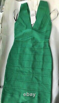 NWT Authentic Herve Leger Rita S Green Opal V-Neck Bandage Dress $790