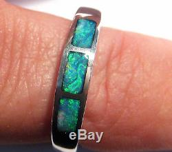 Natural Australian Coober Pedy Opal Inlay and Solid Sterling Silver Ring (2249)