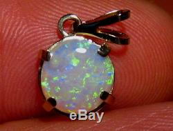 Natural Australian Opal Pendant solid 14k yellow gold