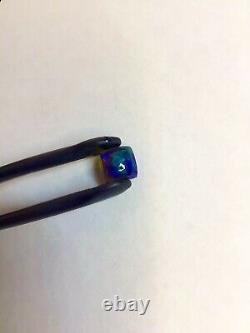 Natural Black Opal Vivid Blue Green Aqua Square Cabochon Cut 1.20 Carat