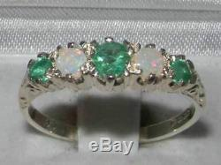 Natural Emerald & Opal Vintage Style Band Ring Jewelry Solid 9ct White Gold