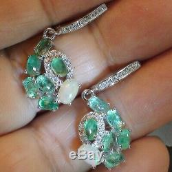 Natural Ethiopia Opal, Colombia Green Emerald Earrings Solid 925 Sterling Silver